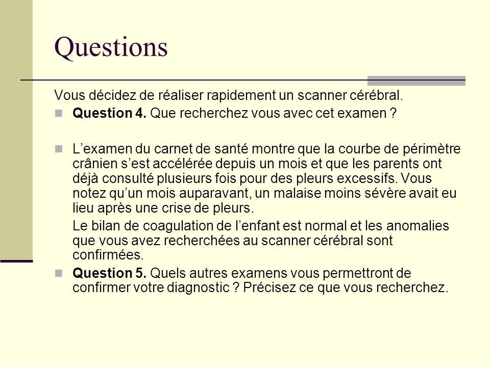 Questions Vous décidez de réaliser rapidement un scanner cérébral. Question 4. Que recherchez vous avec cet examen ? Lexamen du carnet de santé montre