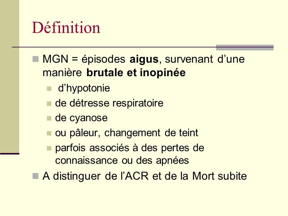Définition MGN = épisodes aigus, survenant dune manière brutale et inopinée dhypotonie de détresse respiratoire de cyanose ou pâleur, changement de teint parfois associés à des pertes de connaissance ou des apnées A distinguer de lACR et de la Mort subite