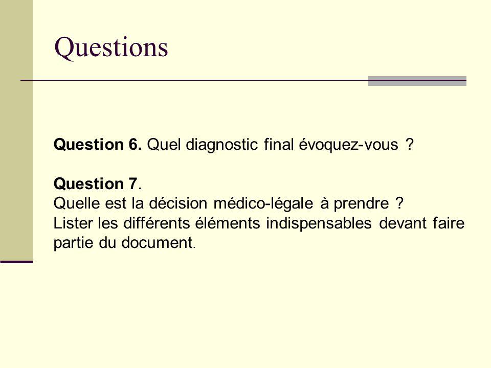 Questions Question 6. Quel diagnostic final évoquez-vous ? Question 7. Quelle est la décision médico-légale à prendre ? Lister les différents éléments