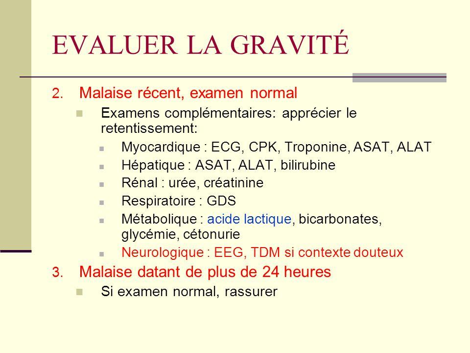 EVALUER LA GRAVITÉ 2. Malaise récent, examen normal Examens complémentaires: apprécier le retentissement: Myocardique : ECG, CPK, Troponine, ASAT, ALA
