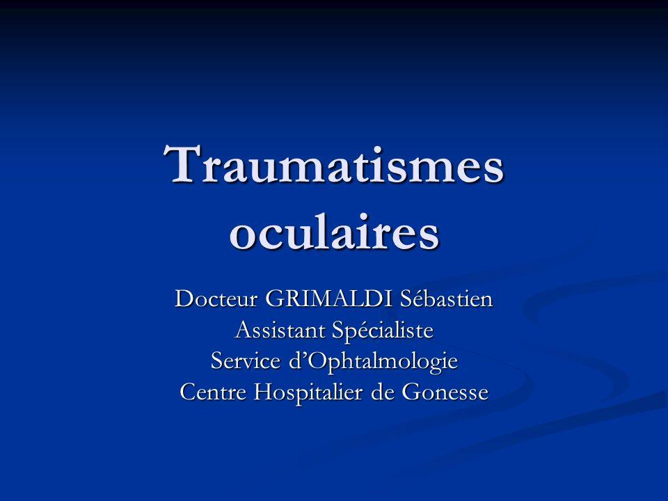 Traumatismes oculaires Docteur GRIMALDI Sébastien Assistant Spécialiste Service dOphtalmologie Centre Hospitalier de Gonesse