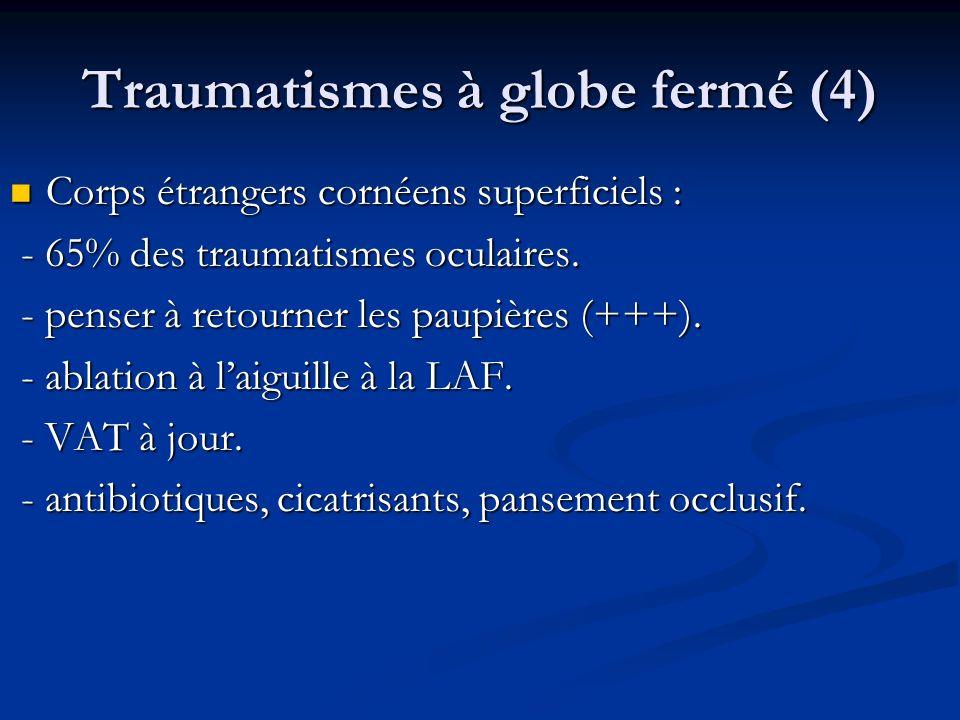 Traumatismes à globe fermé (4) Corps étrangers cornéens superficiels : Corps étrangers cornéens superficiels : - 65% des traumatismes oculaires. - 65%