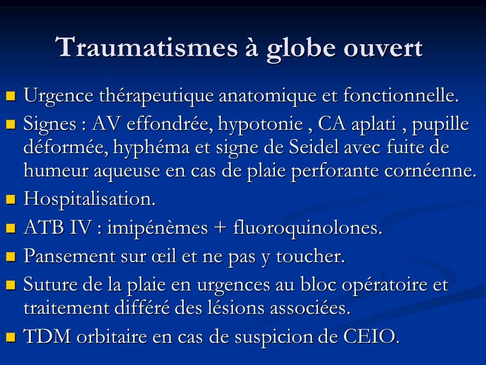 Traumatismes à globe ouvert Urgence thérapeutique anatomique et fonctionnelle. Urgence thérapeutique anatomique et fonctionnelle. Signes : AV effondré