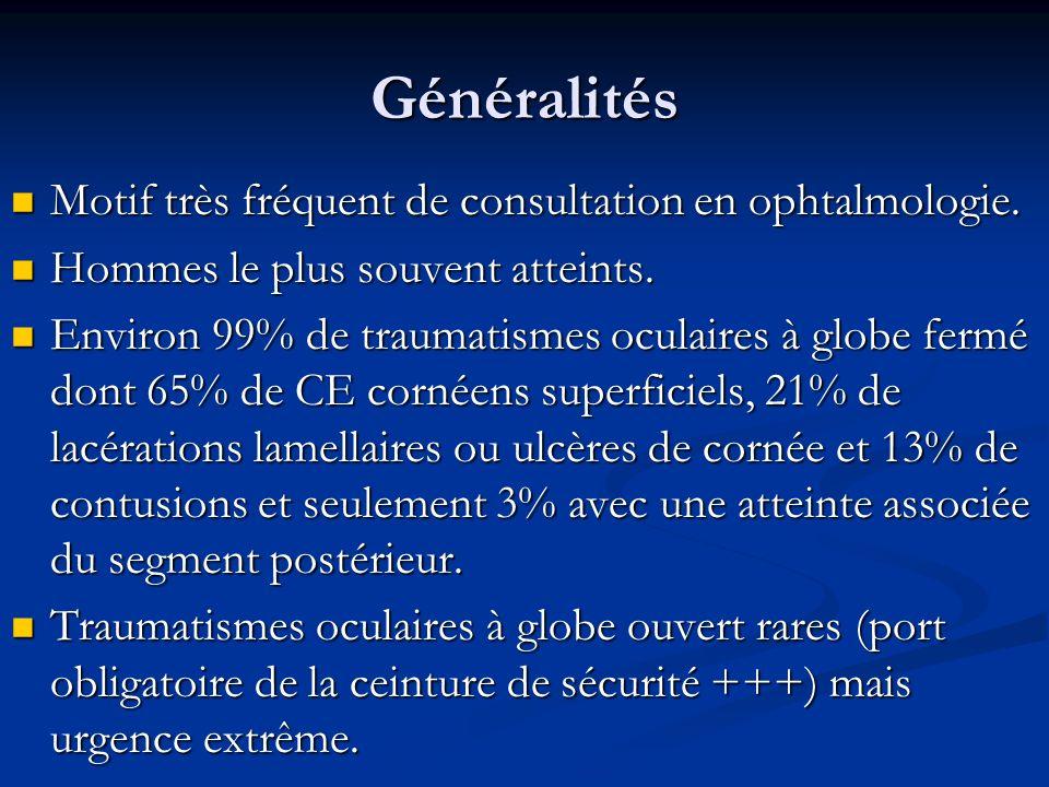 Généralités Motif très fréquent de consultation en ophtalmologie. Motif très fréquent de consultation en ophtalmologie. Hommes le plus souvent atteint