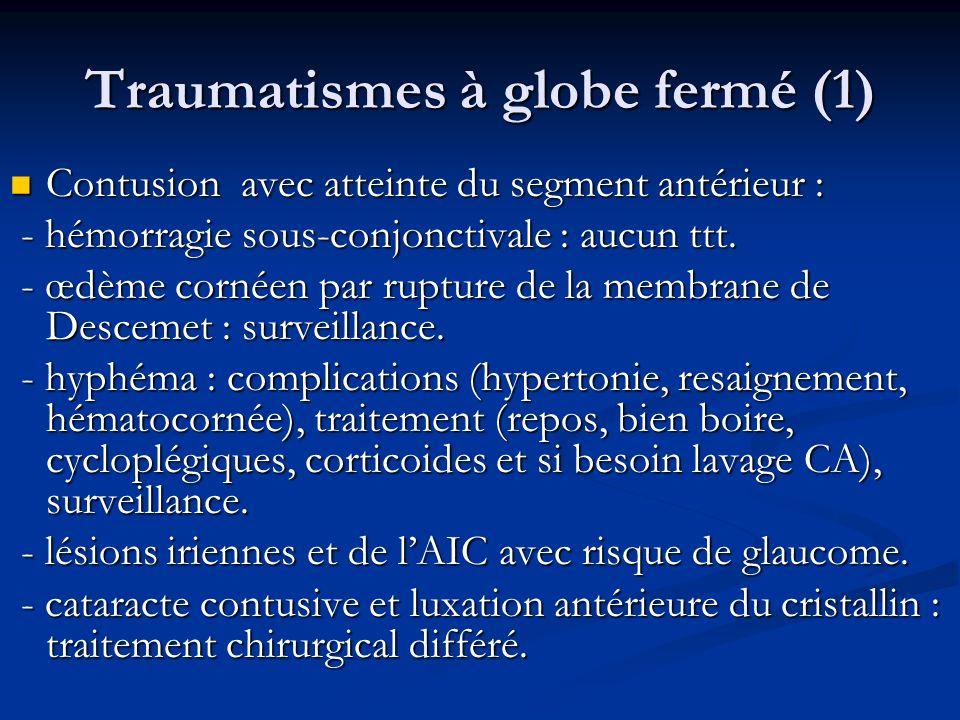 Traumatismes à globe fermé (1) Contusion avec atteinte du segment antérieur : Contusion avec atteinte du segment antérieur : - hémorragie sous-conjonc