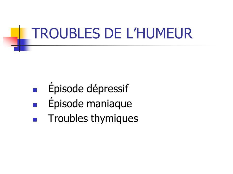TROUBLES DE LHUMEUR Épisode dépressif Épisode maniaque Troubles thymiques