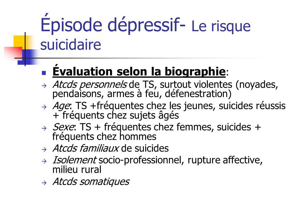Épisode dépressif- Le risque suicidaire Évaluation selon la biographie : Atcds personnels de TS, surtout violentes (noyades, pendaisons, armes à feu,