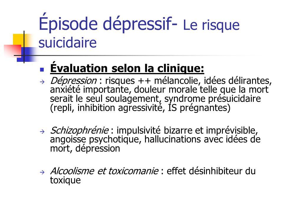 Épisode dépressif- Le risque suicidaire Évaluation selon la clinique: Dépression : risques ++ mélancolie, idées délirantes, anxiété importante, douleu