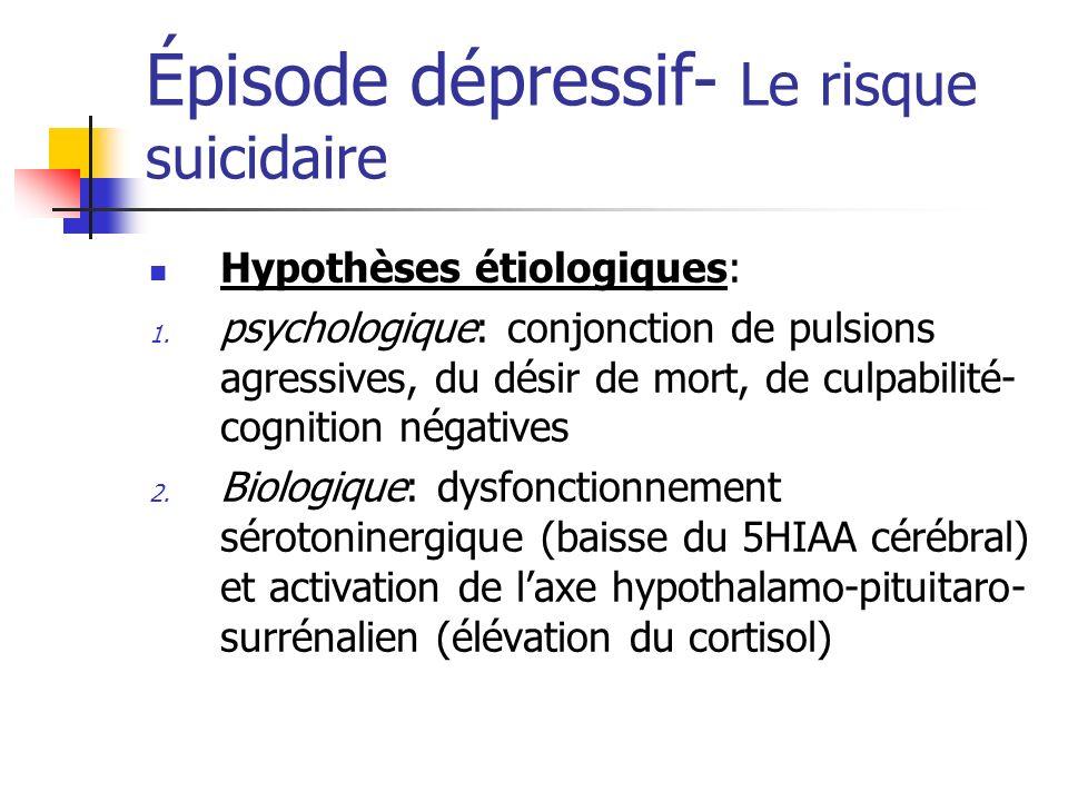 Épisode dépressif- Le risque suicidaire Hypothèses étiologiques: 1. psychologique: conjonction de pulsions agressives, du désir de mort, de culpabilit