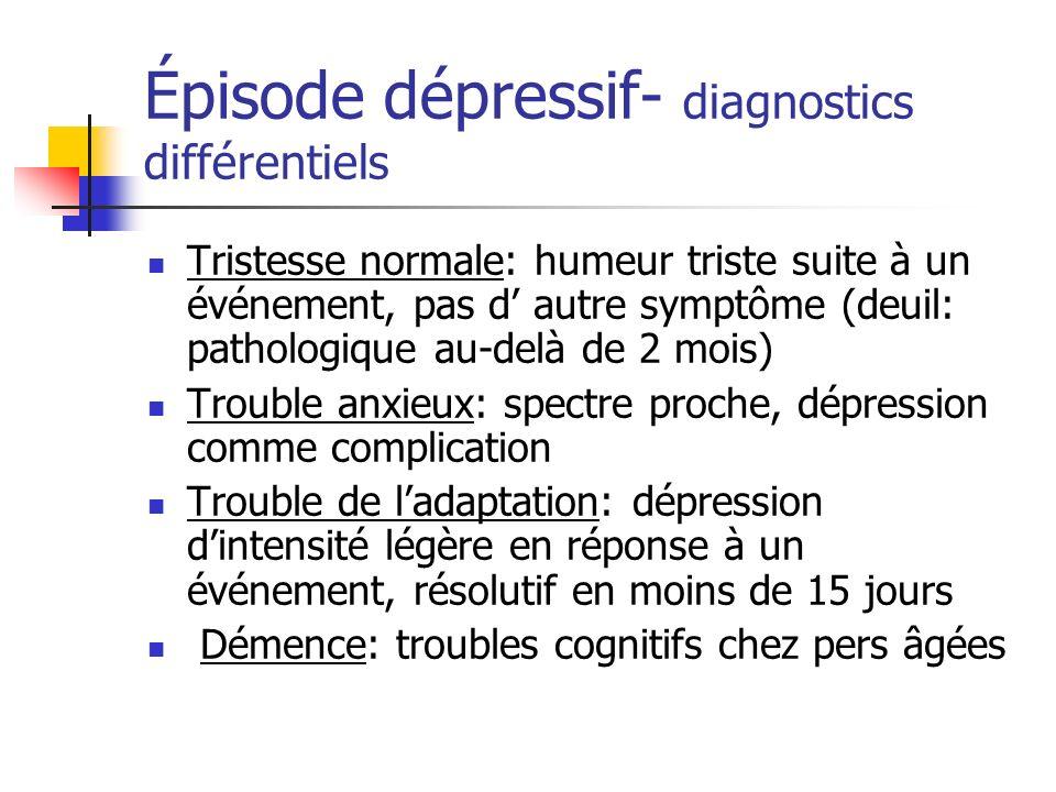Épisode dépressif- diagnostics différentiels Tristesse normale: humeur triste suite à un événement, pas d autre symptôme (deuil: pathologique au-delà