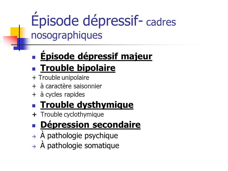 Épisode dépressif- cadres nosographiques Épisode dépressif majeur Trouble bipolaire + Trouble unipolaire + à caractère saisonnier + à cycles rapides T