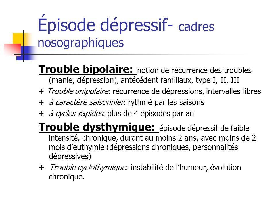 Épisode dépressif- cadres nosographiques Trouble bipolaire: notion de récurrence des troubles (manie, dépression), antécédent familiaux, type I, II, I
