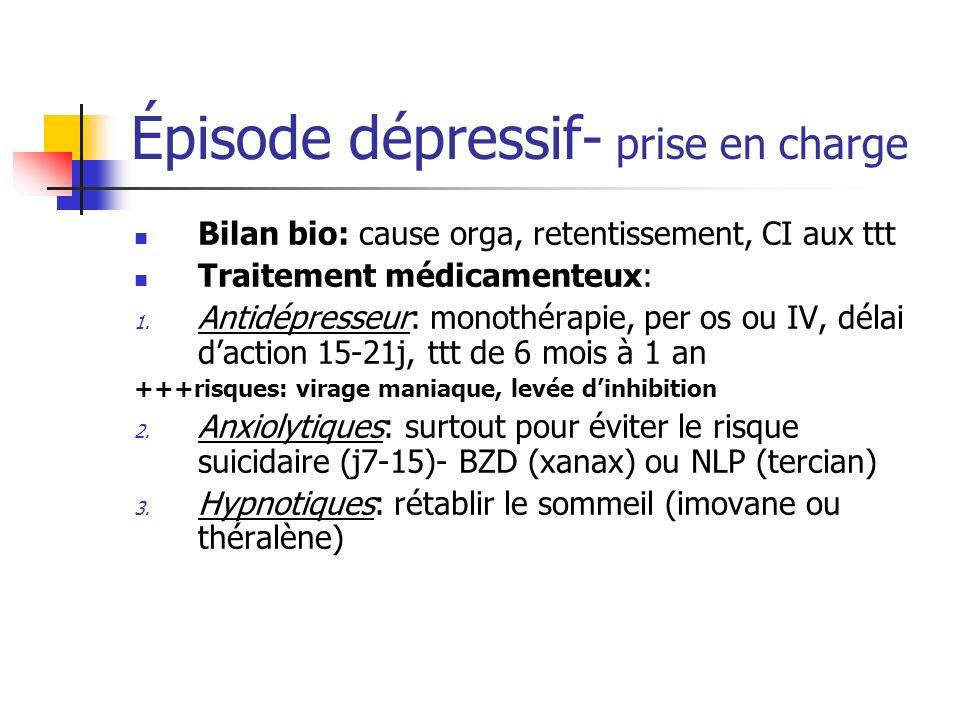 Épisode dépressif- prise en charge Bilan bio: cause orga, retentissement, CI aux ttt Traitement médicamenteux: 1. Antidépresseur: monothérapie, per os