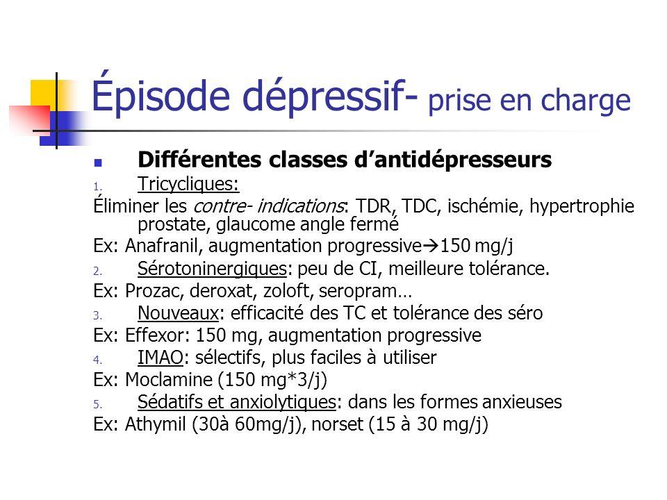 Épisode dépressif- prise en charge Différentes classes dantidépresseurs 1. Tricycliques: Éliminer les contre- indications: TDR, TDC, ischémie, hypertr