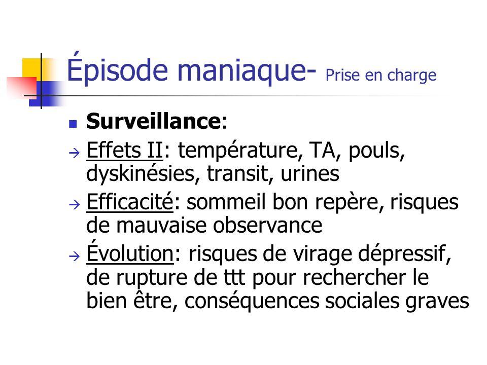 Épisode maniaque- Prise en charge Surveillance: Effets II: température, TA, pouls, dyskinésies, transit, urines Efficacité: sommeil bon repère, risque