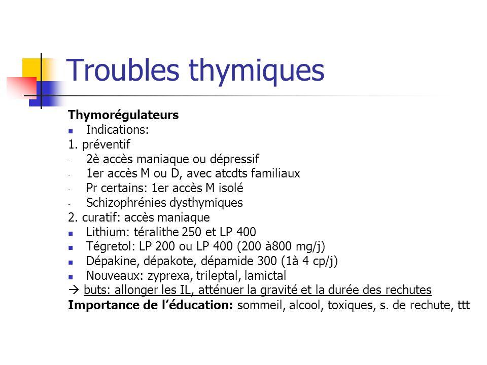 Troubles thymiques Thymorégulateurs Indications: 1. préventif - 2è accès maniaque ou dépressif - 1er accès M ou D, avec atcdts familiaux - Pr certains