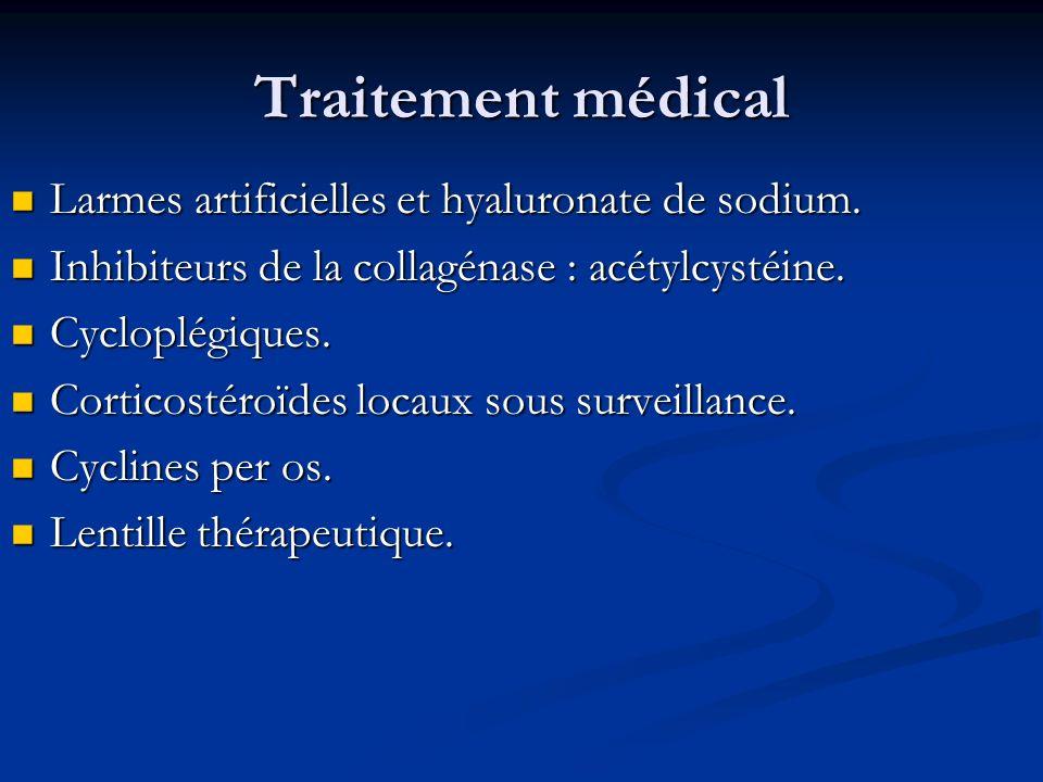 Traitement médical Larmes artificielles et hyaluronate de sodium. Larmes artificielles et hyaluronate de sodium. Inhibiteurs de la collagénase : acéty