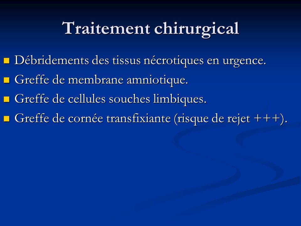 Traitement chirurgical Débridements des tissus nécrotiques en urgence. Débridements des tissus nécrotiques en urgence. Greffe de membrane amniotique.