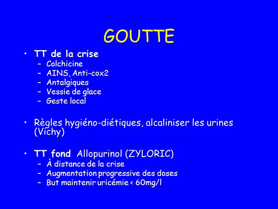 GOUTTE TT de la crise –Colchicine –AINS, Anti-cox2 –Antalgiques –Vessie de glace –Geste local Règles hygiéno-diétiques, alcaliniser les urines (Vichy)