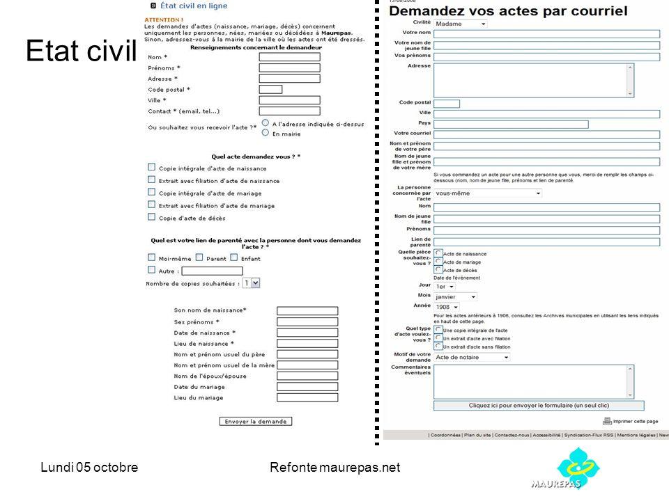 Lundi 05 octobreRefonte maurepas.net Etat civil