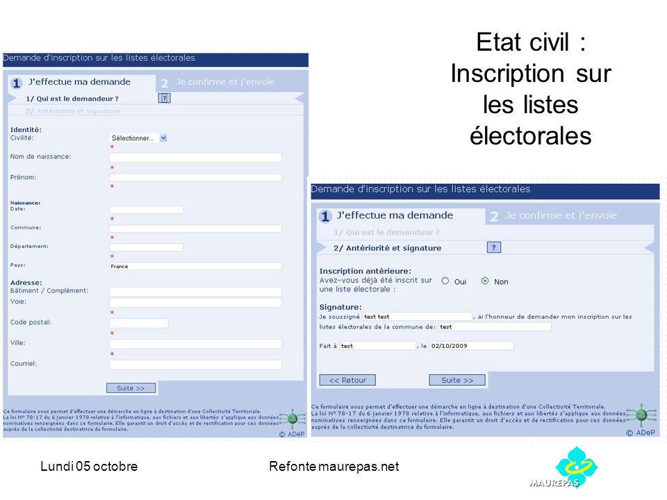 Lundi 05 octobreRefonte maurepas.net Etat civil : Inscription sur les listes électorales