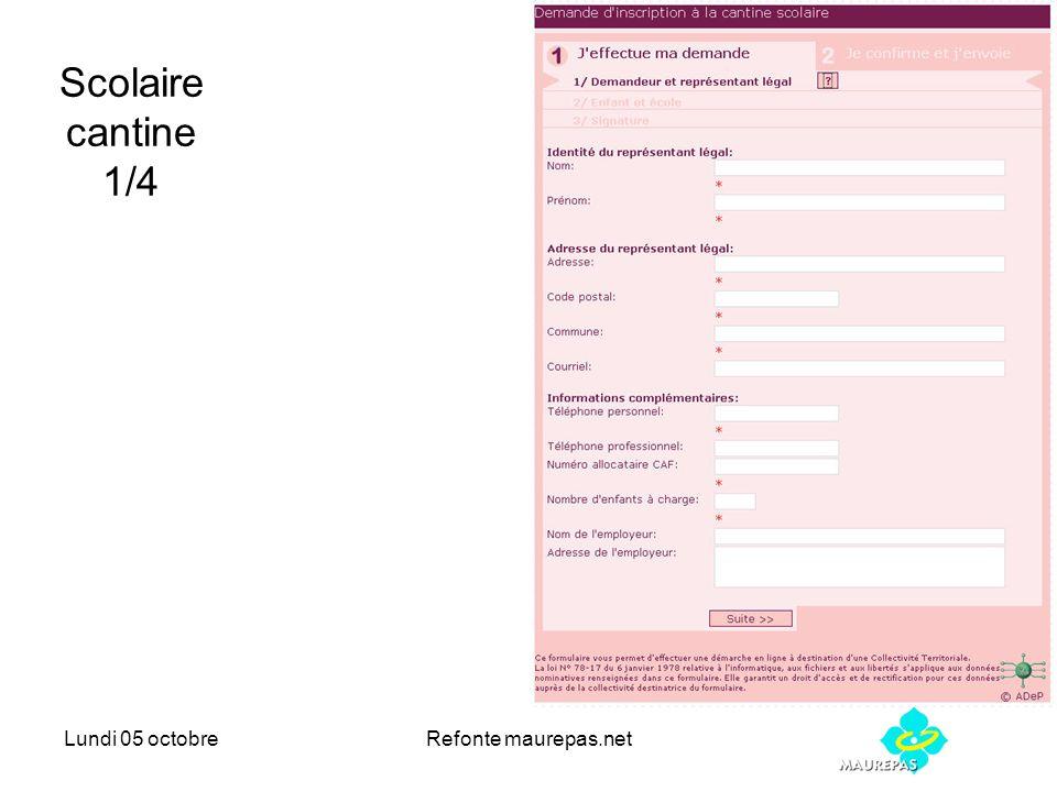 Lundi 05 octobreRefonte maurepas.net Scolaire cantine 1/4