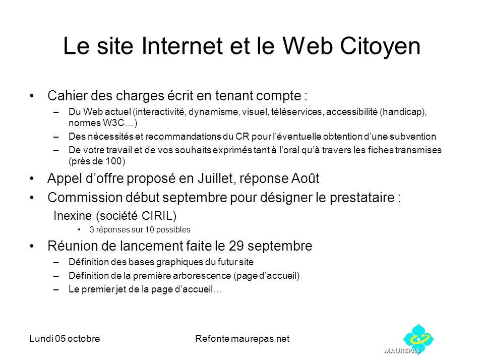 Lundi 05 octobreRefonte maurepas.net Le site Internet et le Web Citoyen Cahier des charges écrit en tenant compte : –Du Web actuel (interactivité, dyn