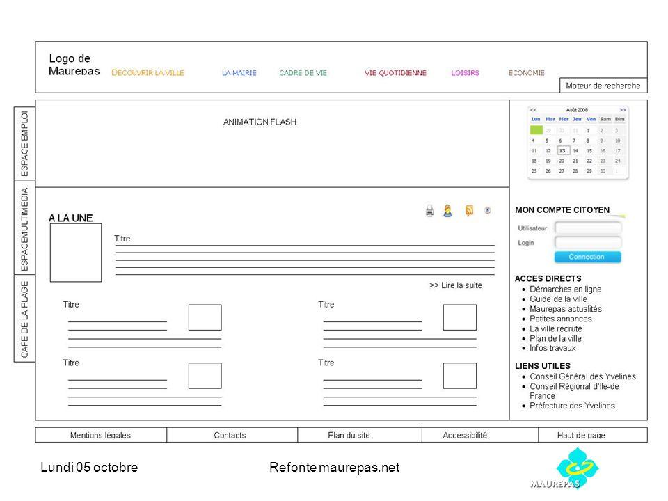 Lundi 05 octobreRefonte maurepas.net Echéancier proposé Développement de la maquette mois doctobre (Inexine) En parallèle fourniture des contenus (Nous) (Arborescence, textes, visuels, bases de données) => Préparation du contenu des formulaires 20/oct ( Nous) Présentation de la maquette fin octobre (Inexine) Intégration des contenus octobre-novembre (Inexine) => Présentation des formulaires pour intégration 5/nov Livraison du portail décembre (Inexine) Et phase de test (Nous) Formation Interne Administrateurs plateforme janvier (Inexine) Formation Interne collaborateurs et contributeurs (Nous) Ouverture Site Internet mars