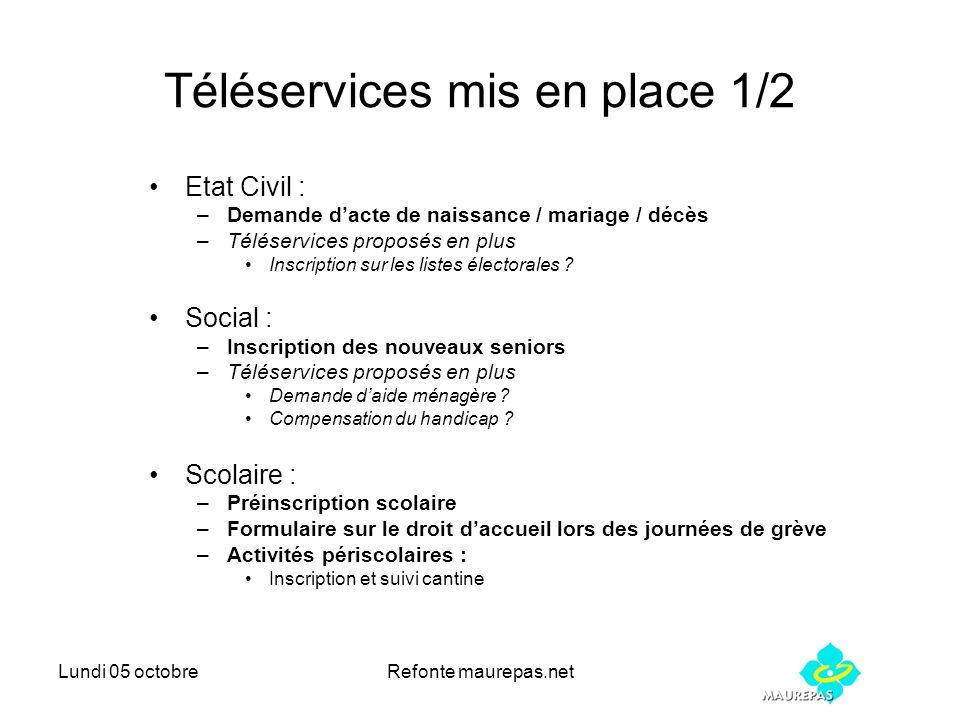 Lundi 05 octobreRefonte maurepas.net Téléservices mis en place 1/2 Etat Civil : –Demande dacte de naissance / mariage / décès –Téléservices proposés e