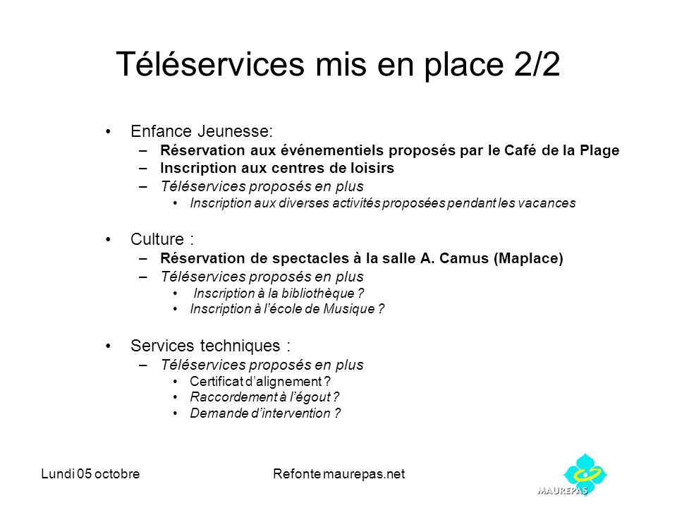 Lundi 05 octobreRefonte maurepas.net Téléservices mis en place 2/2 Enfance Jeunesse: –Réservation aux événementiels proposés par le Café de la Plage –
