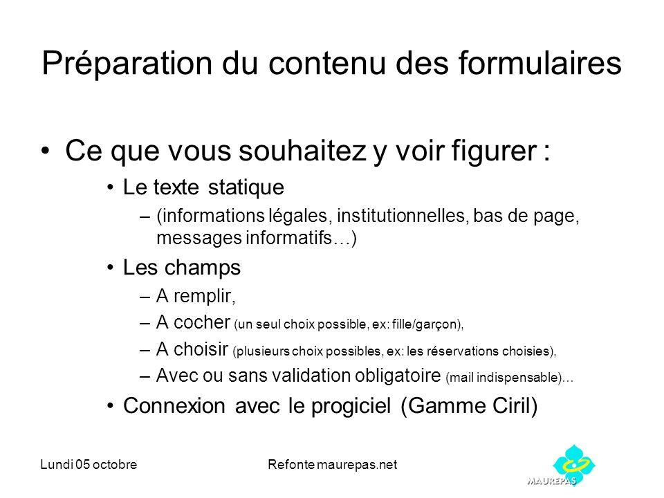 Lundi 05 octobreRefonte maurepas.net Préparation du contenu des formulaires Ce que vous souhaitez y voir figurer : Le texte statique –(informations lé