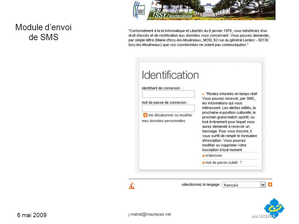 6 mai 2009 j.matrat@maurepas.net Module denvoi de SMS