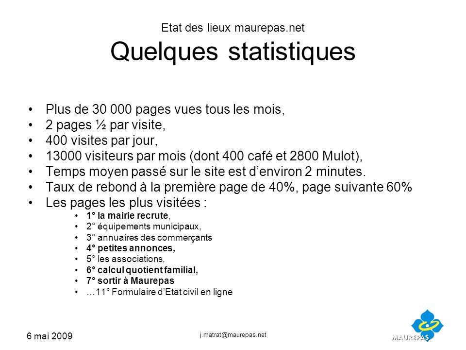 6 mai 2009 j.matrat@maurepas.net Etat des lieux maurepas.net Quelques statistiques Plus de 30 000 pages vues tous les mois, 2 pages ½ par visite, 400 visites par jour, 13000 visiteurs par mois (dont 400 café et 2800 Mulot), Temps moyen passé sur le site est denviron 2 minutes.
