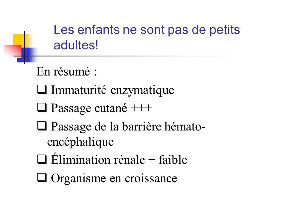 Les enfants ne sont pas de petits adultes! En résumé : Immaturité enzymatique Passage cutané +++ Passage de la barrière hémato- encéphalique Éliminati