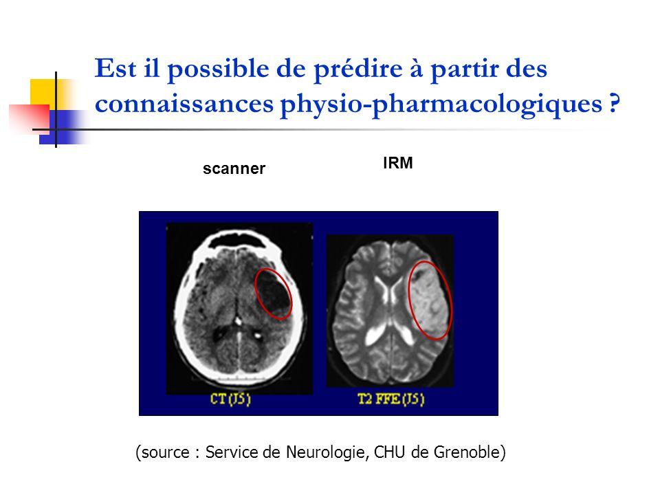 Est il possible de prédire à partir des connaissances physio-pharmacologiques ? (source : Service de Neurologie, CHU de Grenoble) scanner IRM