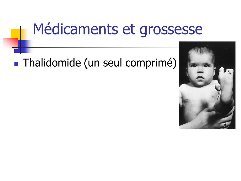 Médicaments et grossesse Thalidomide (un seul comprimé)