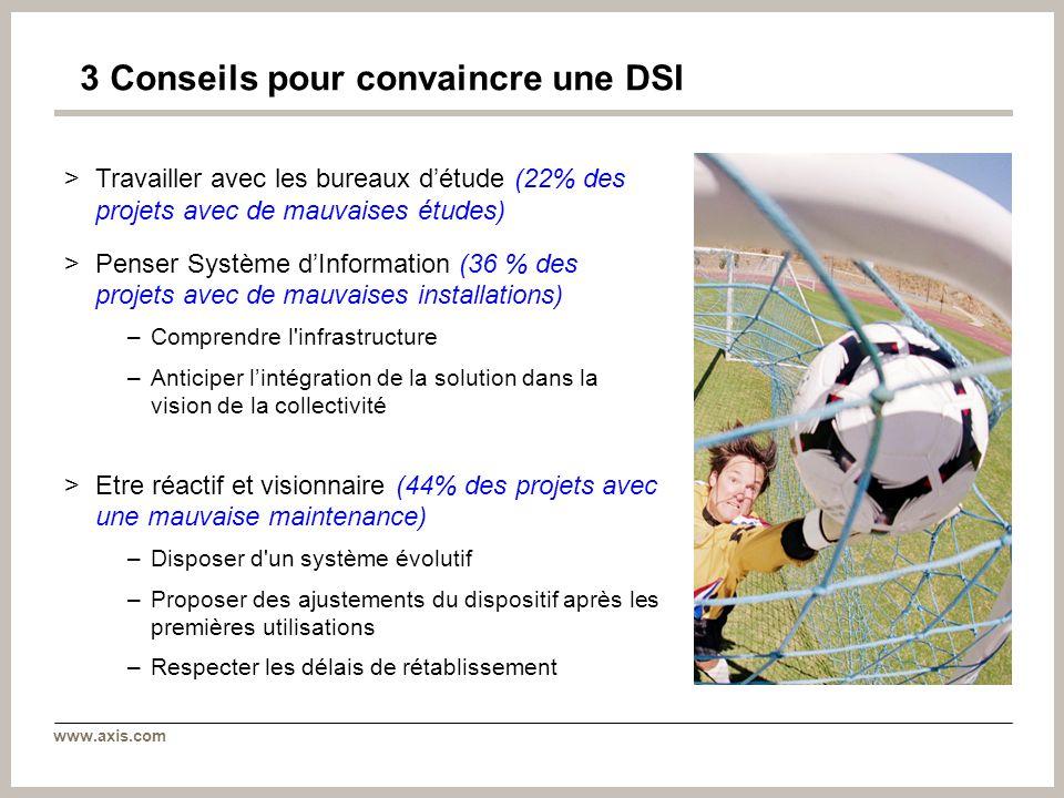 www.axis.com 3 Conseils pour convaincre une DSI >Travailler avec les bureaux détude (22% des projets avec de mauvaises études) >Penser Système dInform