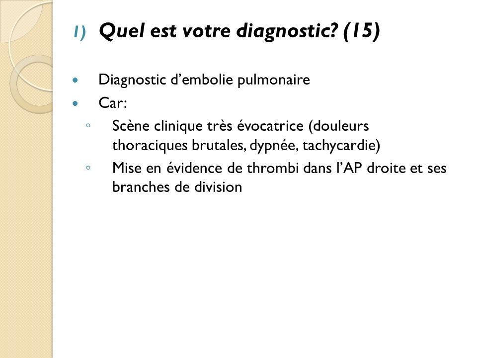 2) Quels diagnostics différentiels pourraient se discuter devant les douleurs thoraciques?