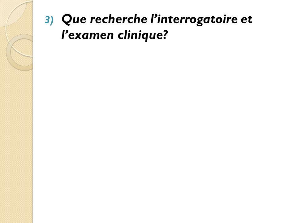 3) Que recherche linterrogatoire et lexamen clinique.