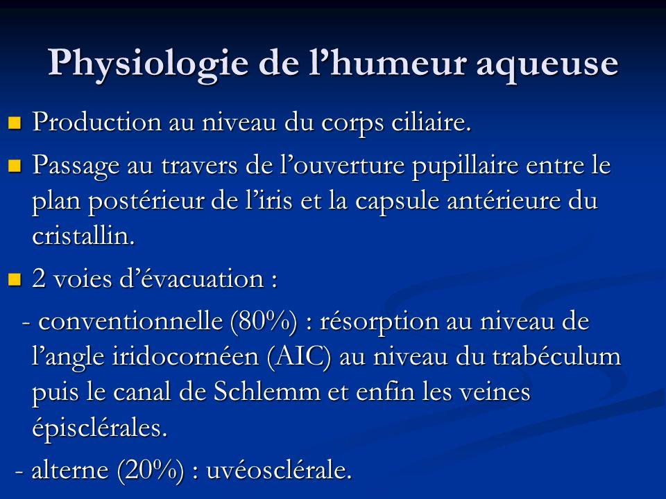 Physiologie de lhumeur aqueuse Production au niveau du corps ciliaire. Production au niveau du corps ciliaire. Passage au travers de louverture pupill