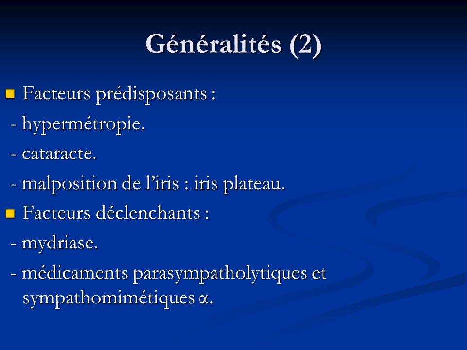 Généralités (2) Facteurs prédisposants : Facteurs prédisposants : - hypermétropie. - hypermétropie. - cataracte. - cataracte. - malposition de liris :