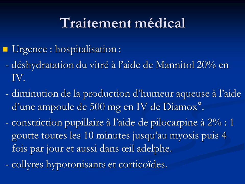 Traitement médical Urgence : hospitalisation : Urgence : hospitalisation : - déshydratation du vitré à laide de Mannitol 20% en IV. - déshydratation d