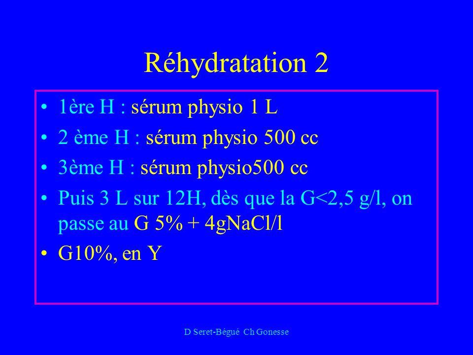D Seret-Bégué Ch Gonesse Réhydratation 2 1ère H : sérum physio 1 L 2 ème H : sérum physio 500 cc 3ème H : sérum physio500 cc Puis 3 L sur 12H, dès que la G<2,5 g/l, on passe au G 5% + 4gNaCl/l G10%, en Y