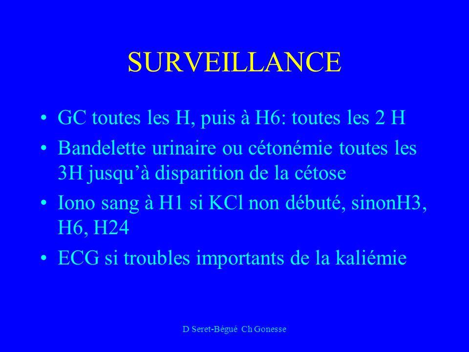 D Seret-Bégué Ch Gonesse SURVEILLANCE GC toutes les H, puis à H6: toutes les 2 H Bandelette urinaire ou cétonémie toutes les 3H jusquà disparition de la cétose Iono sang à H1 si KCl non débuté, sinonH3, H6, H24 ECG si troubles importants de la kaliémie