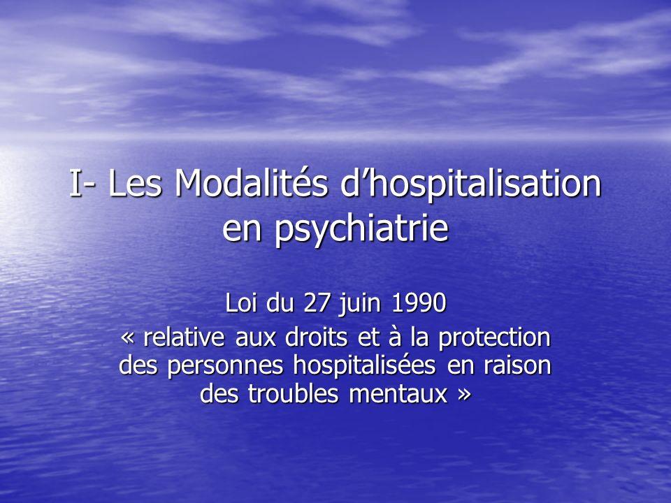 I- Les Modalités dhospitalisation en psychiatrie Loi du 27 juin 1990 « relative aux droits et à la protection des personnes hospitalisées en raison des troubles mentaux »