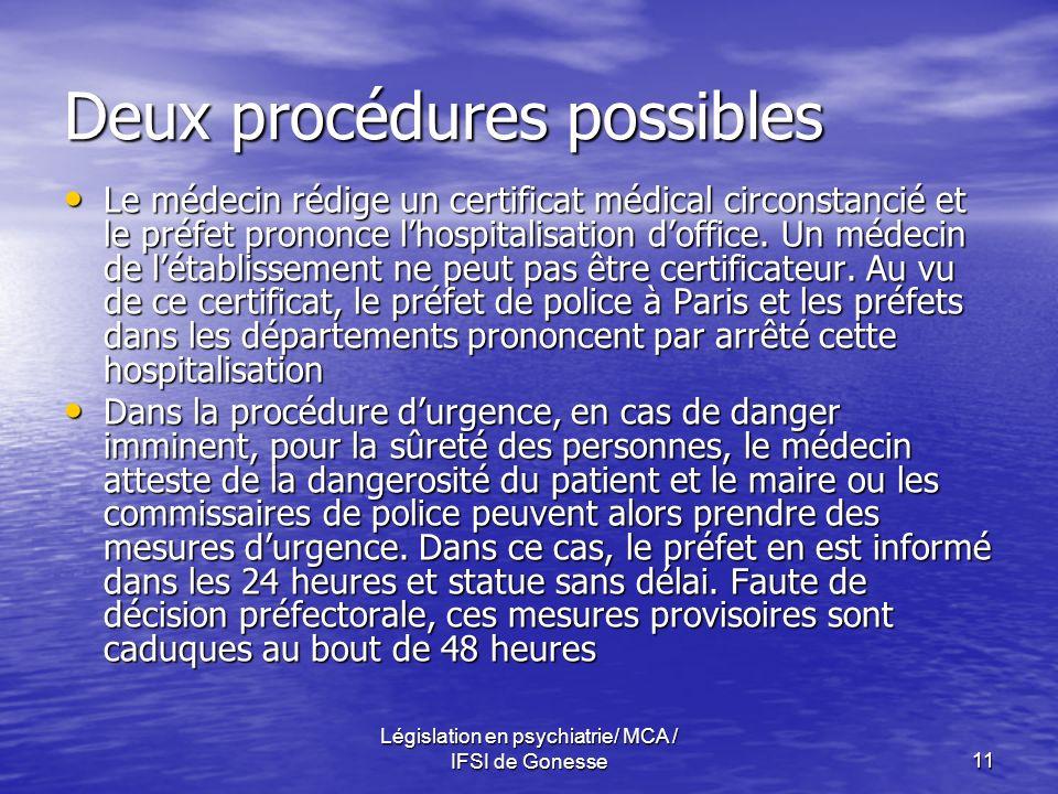 Législation en psychiatrie/ MCA / IFSI de Gonesse11 Deux procédures possibles Le médecin rédige un certificat médical circonstancié et le préfet prononce lhospitalisation doffice.