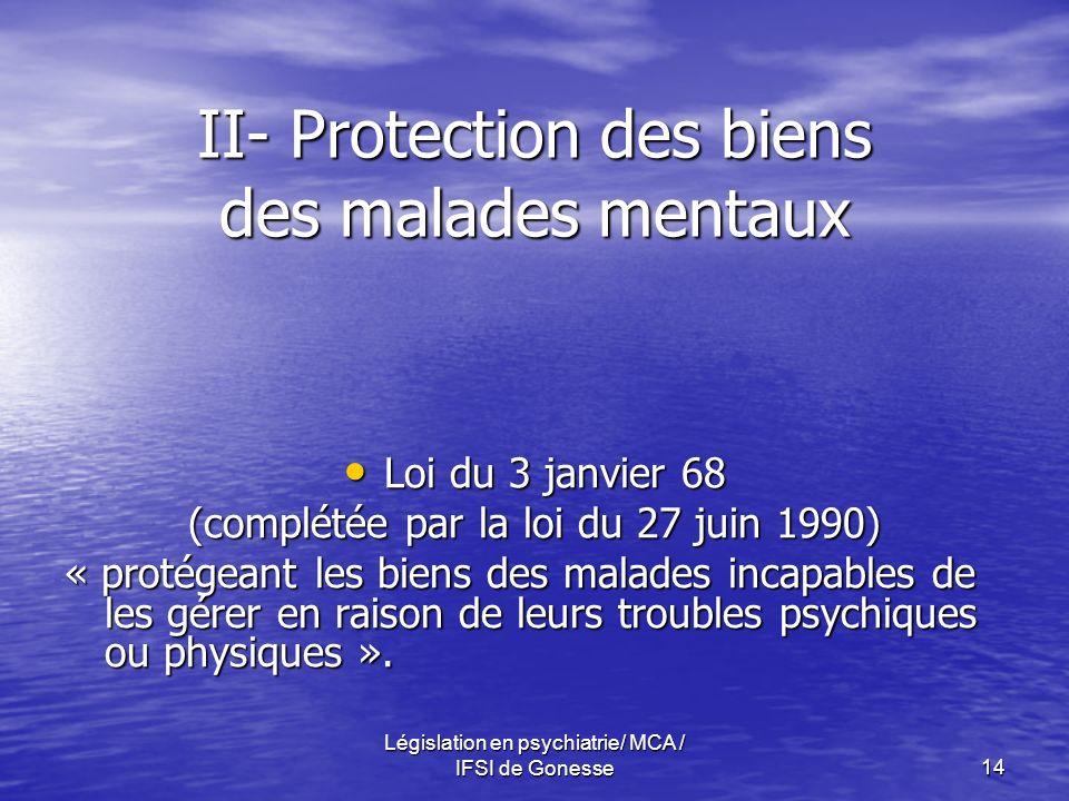 Législation en psychiatrie/ MCA / IFSI de Gonesse14 II- Protection des biens des malades mentaux Loi du 3 janvier 68 Loi du 3 janvier 68 (complétée par la loi du 27 juin 1990) « protégeant les biens des malades incapables de les gérer en raison de leurs troubles psychiques ou physiques ».