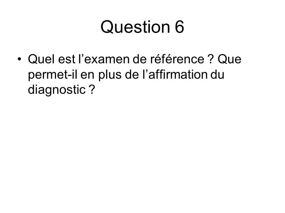 Question 6 Quel est lexamen de référence ? Que permet-il en plus de laffirmation du diagnostic ?