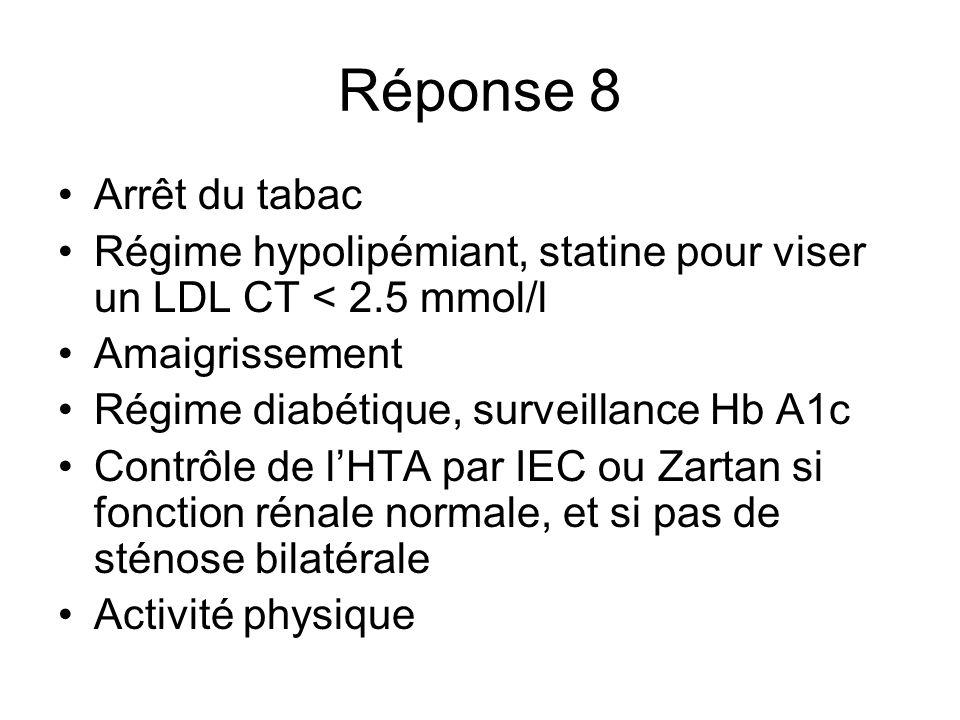 Réponse 8 Arrêt du tabac Régime hypolipémiant, statine pour viser un LDL CT < 2.5 mmol/l Amaigrissement Régime diabétique, surveillance Hb A1c Contrôl