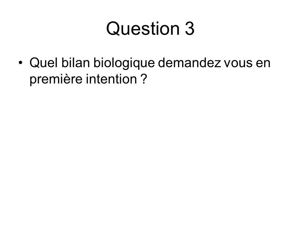 Question 3 Quel bilan biologique demandez vous en première intention ?